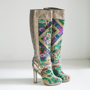 Versace Collection Velvet Colourful Print Boots